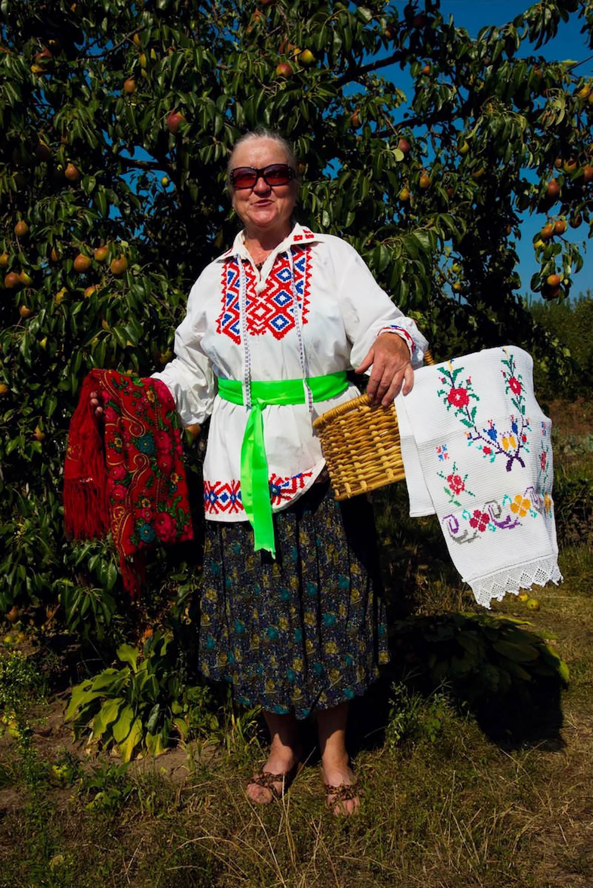 Peasant woman in traditional festive costume Belarus