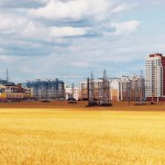 Cornfield in front of a prefabricated building Grodno Hrodna Belarus