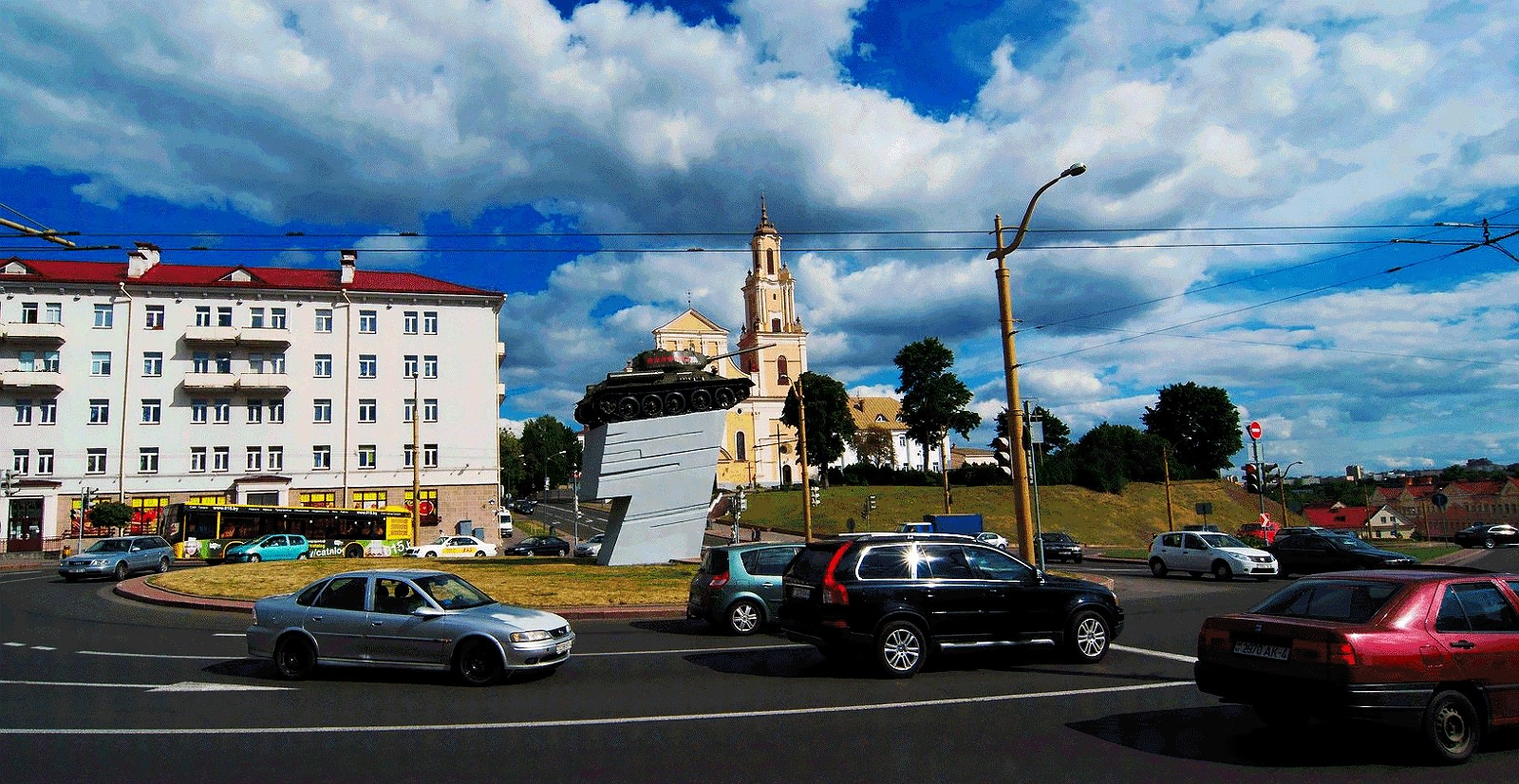 roundabout with tank Grodno Hrodna Belarus