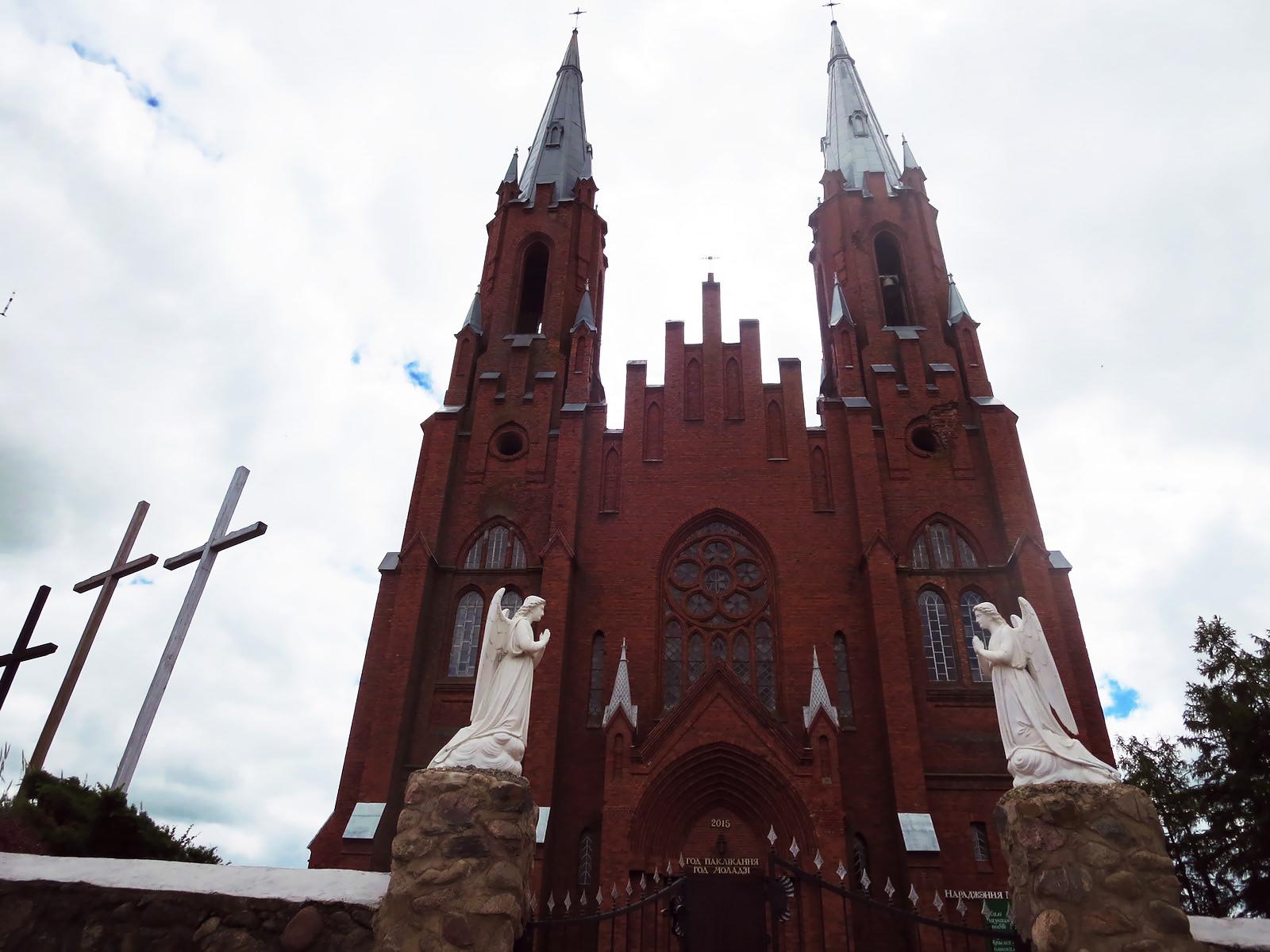 Catholic brick church Braslau lakes Belarus