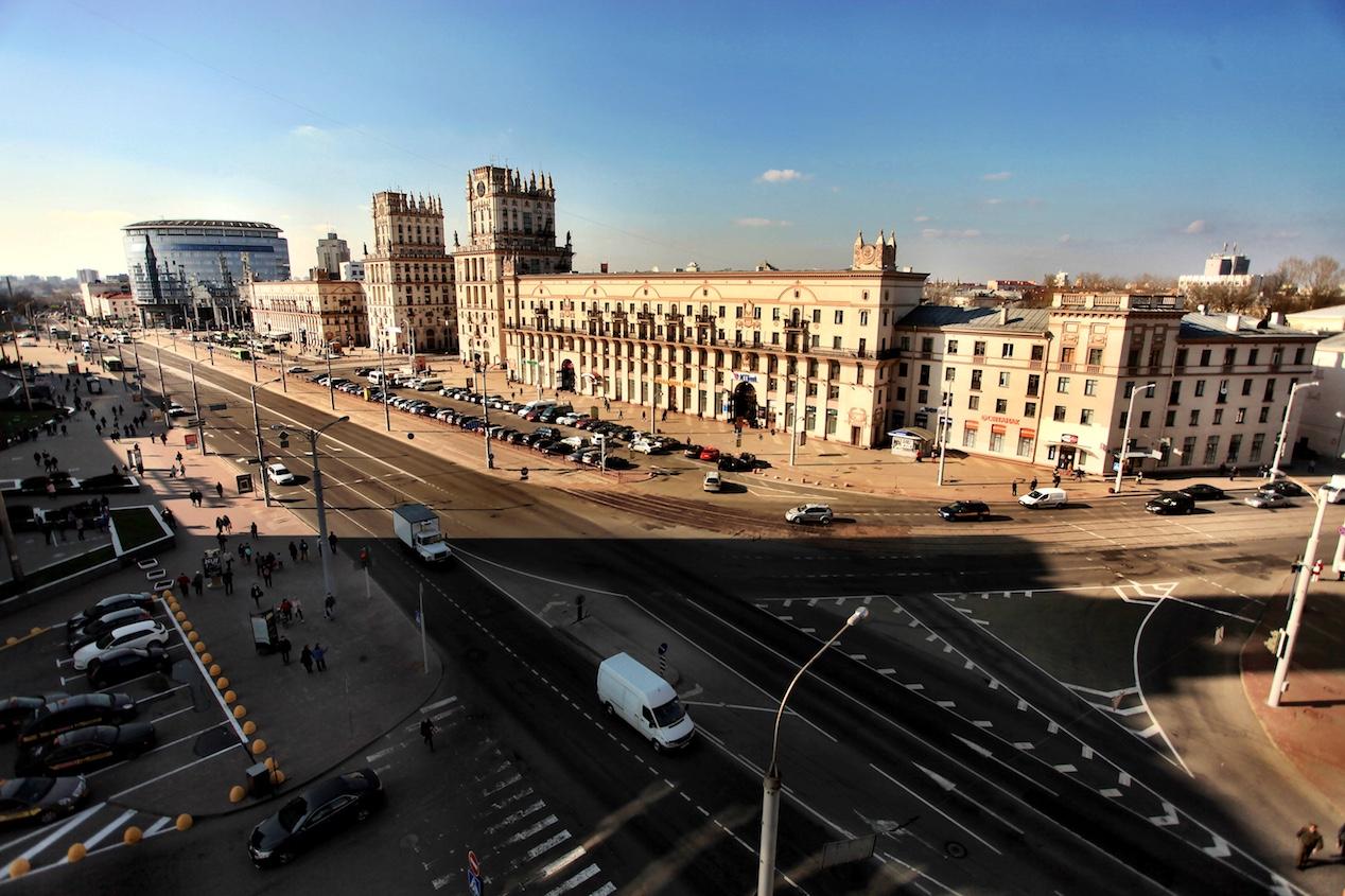 Minsk city gate train station Belarus