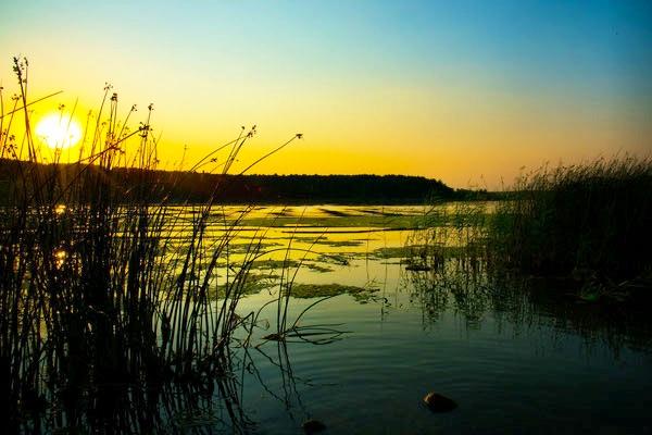 Romantic sunset over a lake belarus